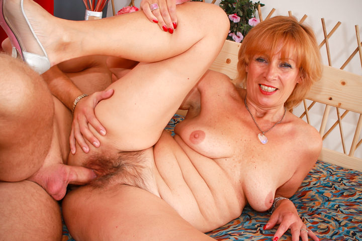 Cock hungry granny Lady fucks with young lover