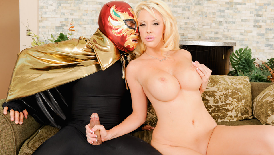 Hot busty slut Courtney Taylor rides masked man