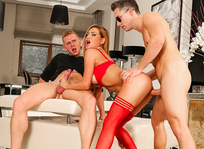 Rocco siffredi elegant academy lutro chad rockwell subil arch. Gorgeous, curvy blonde Subil Arch and two young studs demonstrate how to do a hard-core scene for a class at legendary Rocco Siffredi's European porn academy. The spunky, adorable minx has a large personality -- she interacts with the students as Chad Rockwell and hugely hung Lutro trade off in her mouth and shaved pussy. Subil, whose bikini bod sports tan-lined tits, pierced nipple and lovely butt, sucks both cocks at once and gets slam-fucked. She swallows their cum. The students applaud the scene, and the three performers take questions from the class.
