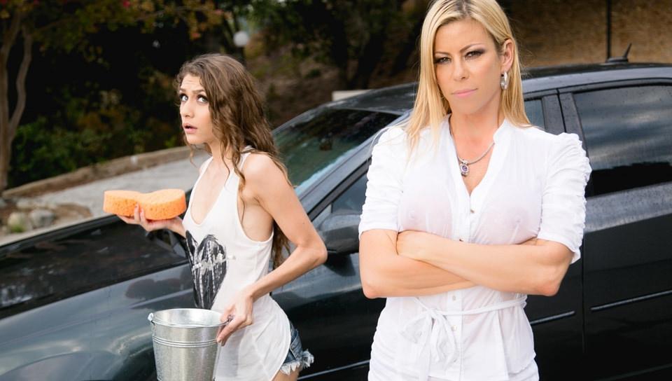 Horny car wash slut lesbian fucks blonde after soaking her in HD