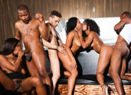 Black kings and queens. Wild orgy between black stallions and delicate ebony whores
