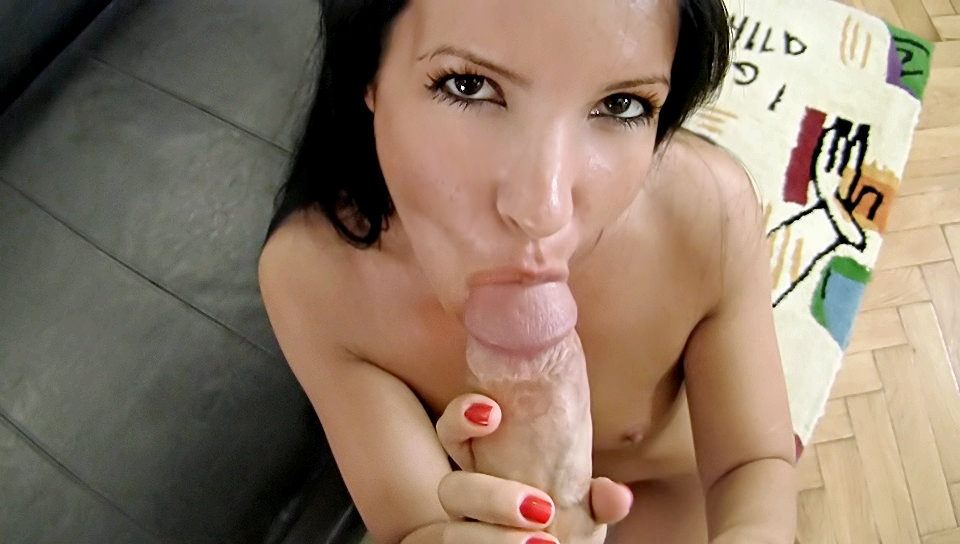 POV of an amazing girl giving a blowjob to properly sized cock