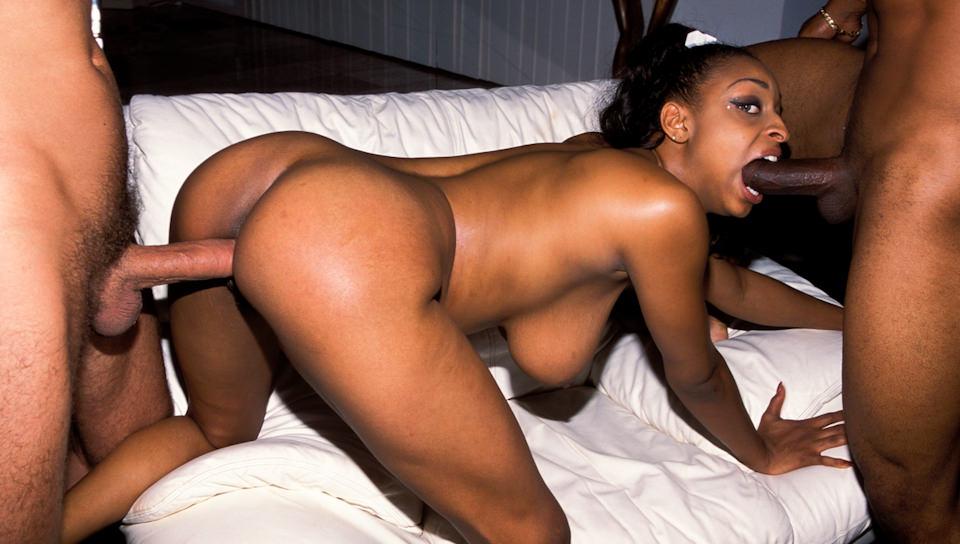 Big boobed ebony whore licks her nipple as she's getting fucked